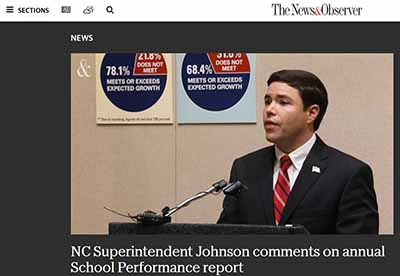 NC Superintendent Johnson comments on annual School Performance report